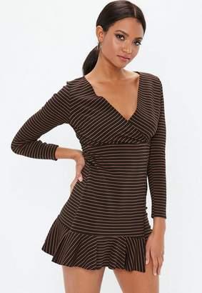 Missguided Black Long Sleeve Stripe Asymmetric Hem Dress