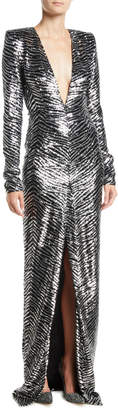 Alexandre Vauthier Plunging Long-Sleeve Slit-Front Zebra-Sequin Evening Gown