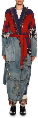 Alanui x Greg Lauren Icon Patchwork Long Cashmere & Denim Cardigan
