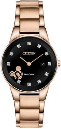 Citizen Disney by Eco-Drive Women Mickey Mouse Diamond-Accent Rose Gold-Tone Bracelet Watch 29.5mm