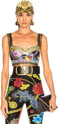 Versace Print Bra Top in Acid Floral | FWRD