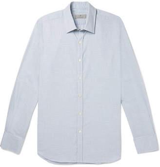 Canali Puppytooth Cotton Shirt - Light blue