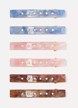 Valet - Set Of Six Embellished Resin Hairclips - Pink