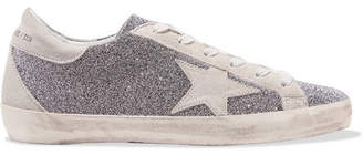 Golden Goose Superstar Swarovski Crystal-embellished Distressed Suede Sneakers - Silver