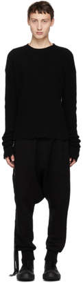 Unravel Black Boiled Rib Crewneck Sweater