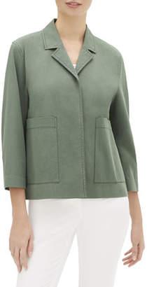 Lafayette 148 New York Layken 3/4-Sleeve Italian Pima Cotton Bi-Stretch Jacket