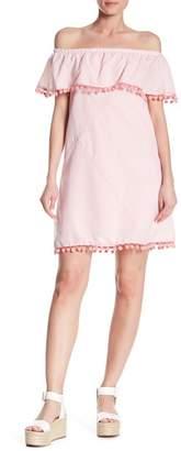 AFTER MARKET Pompom Stripe Off-the-Shoulder Dress