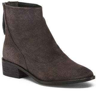 Stacked Suede Ankle Booties
