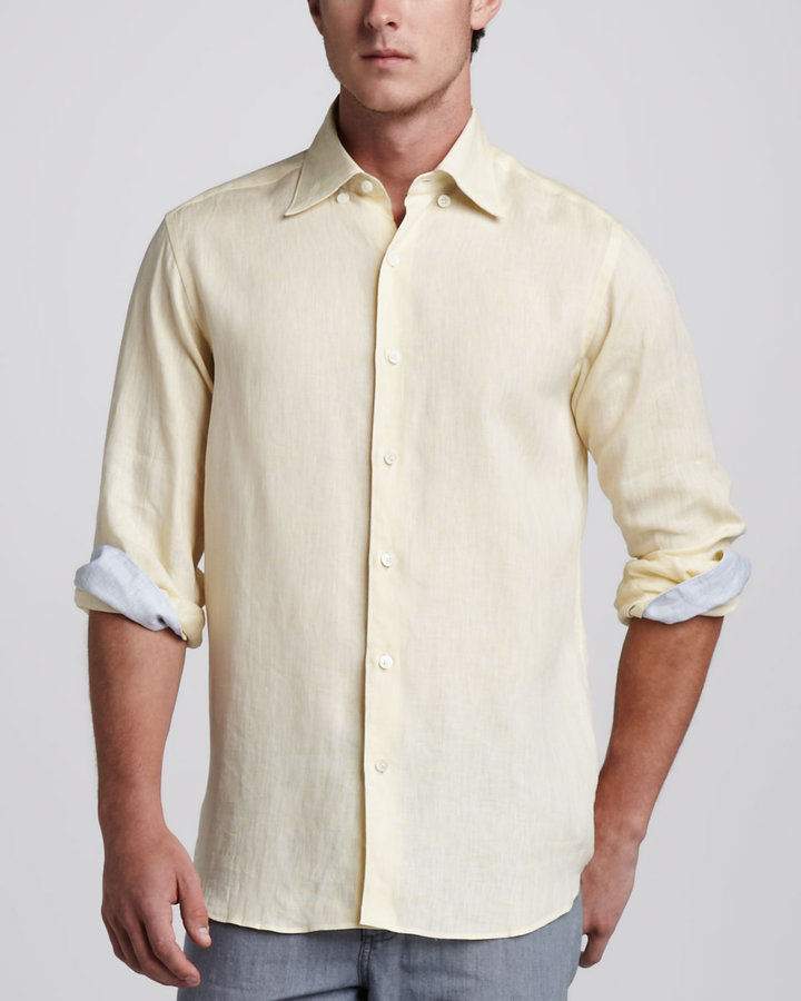 Ermenegildo Zegna Linen Sport Shirt, Yellow