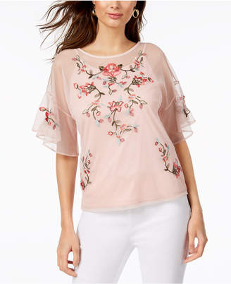 Thalia Sodi Embroidered Mesh Top, Created for Macy's