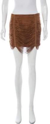 Haute Hippie Suede Fringe Mini Skirt Tan Suede Fringe Mini Skirt