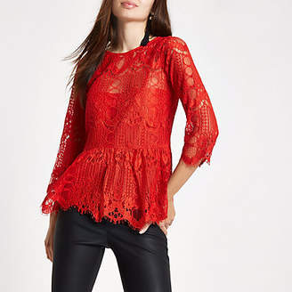 River Island Red lace peplum hem lace top