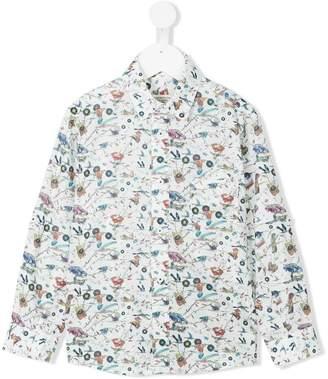 Cashmirino Record and bird print shirt