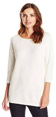 Lark & Ro Women's 3/4 Sleeve Shaker Stitch Pullover Sweater