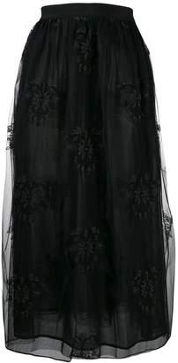 Pinko embroidered tulle midi skirt