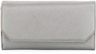 Neiman Marcus Faux-Saffiano Flap Wallet On A Chain