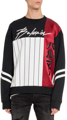 Balmain Men's Graphic Crewneck Sweatshirt