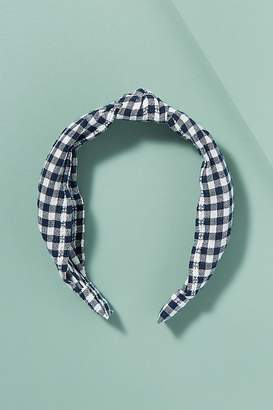 Carlie Knotted-Top Gingham Headband
