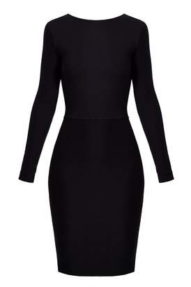 UNDRESS - Estival Black Open Wrap Back Bodycon Jersey Dress