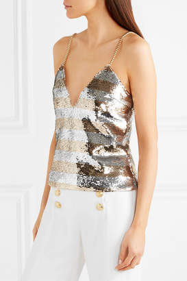 Balmain Chain-embellished Striped Sequined Crepe Camisole - Gold