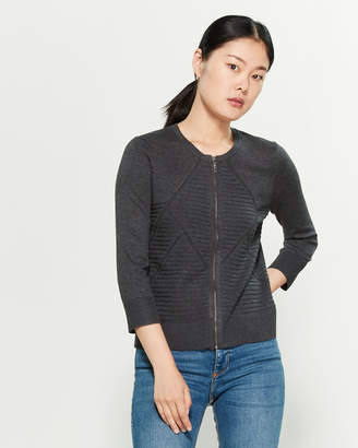 Cable & Gauge Crew Neck Full-Zip Cardigan
