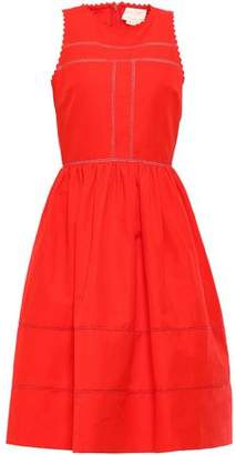 Kate Spade Gathered Cotton And Silk-blend Dress