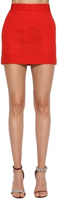 Calvin Klein Side Band Wool Gabardine Mini Skirt