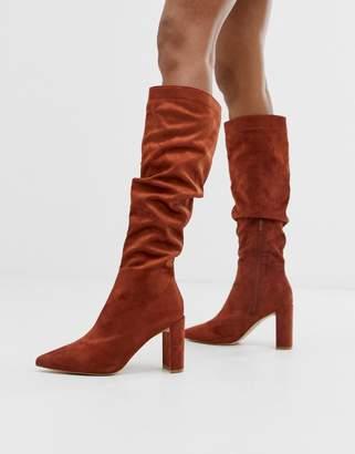 Public Desire Mine tan slouch knee boots