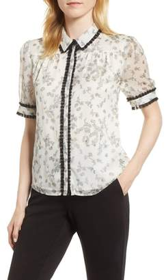 CeCe Floral Print Ruffle Trim Shirt