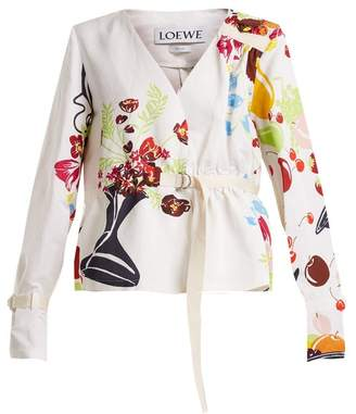 Loewe - Floral And Fruit Print Tie Waist Jacket - Womens - White Multi