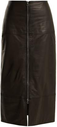 Raey Zip-front leather pencil skirt