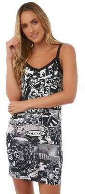 Volcom New Women's Gmj Strappy Dress Cotton Polyester Black