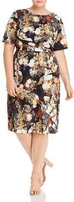 Adrianna Papell Plus Short-Sleeve Floral-Print Dress