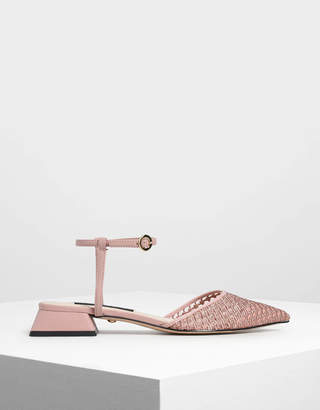 Charles & Keith Mesh Mini Block Heel Sandals