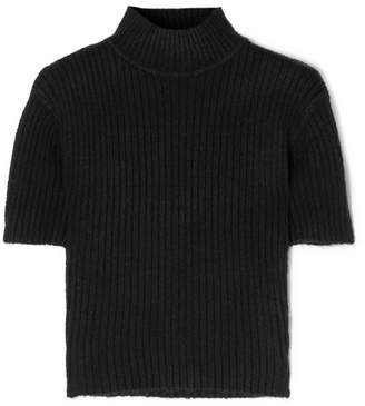 STAUD - Claudia Cutout Ribbed-knit Turtleneck Sweater - Black