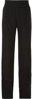 Satin-trimmed Grain De Poudre Wool Wide-leg Pants - Black