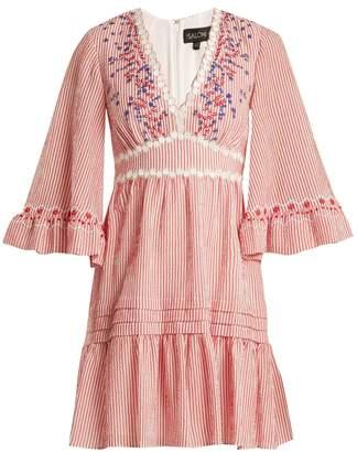 Saloni June striped-seersucker dress