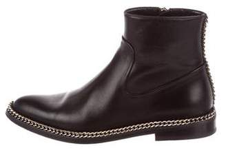 Lanvin Leather Chain-Link Ankle Boots