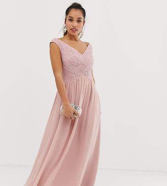 Little Mistress Petite wrap front maxi dress