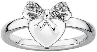 JCPenney FINE JEWELRY Personally Stackable Diamond-Accent Sterling Silver Heart Charm Ring