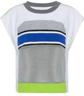 NO KA 'OI Striped Mesh-Paneled Jersey Top