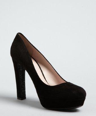 Miu Miu black suede glitter sole platform heels
