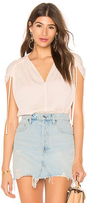 Vince Ruched Short Sleeve V Neck Top