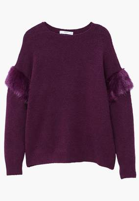 MANGO Faux Fur Trim Sweater