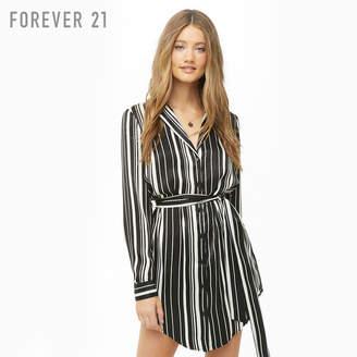 Forever 21 (フォーエバー 21) - Forever 21 サテンストライプシャツワンピース