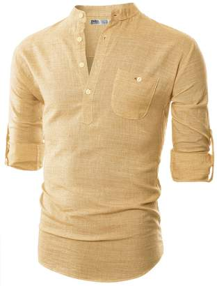 Blend of America Ohoo Mens Slim Fit Ultra Light Cotton Linen Long Sleeve Popover Work Shirt/-L