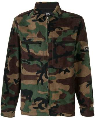 Stussy camouflage fleece military jacket