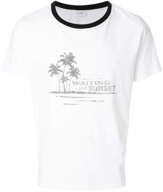 1b2b198903b Saint Laurent waiting for sunset t-shirt white/black collar