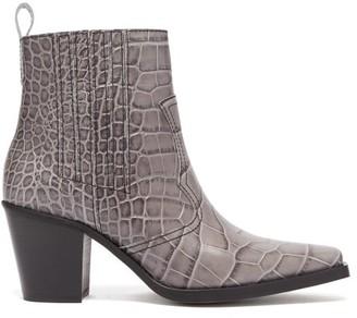 Ganni Callie Western Crocodile Effect Leather Boots - Womens - Grey