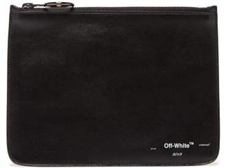 Off-White Off White Logo Print Leather Pouch - Mens - Black